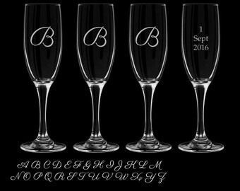 Monogram Champagne Flutes set of 4 toasting glasses wedding events party