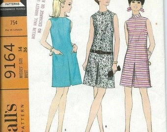 ON SALE McCall's 9164 VTG 1960s Misses Dress with Inverted Pleat Pattern, Size 14 Uncut