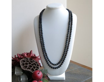 Knotted black freshwater pearl necklace
