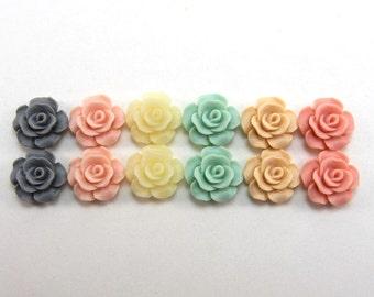 12 pcs Resin Flower Cabochons - 13.5mm Camellia Flowers - Pastel Dreams Matte Mix (version 2)