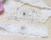 White lace garter set, Wedding bridal lace garter set, white garter set, lace wedding garter set, something blue wedding garter set