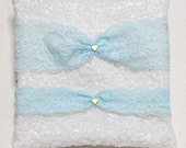 Blue lace garter, gold tiny heart garter, wedding garter, lace garter, bridal garter, lace keepsake garter, toss garter