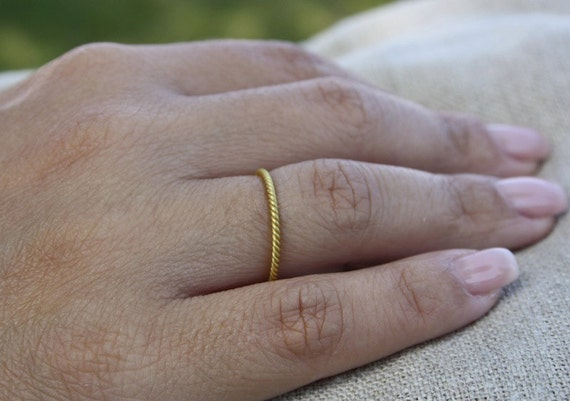 18k gold twisted ring, twist stacking rings