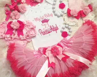 3-pc set Crown number Birthday Outfit-Include personalised Top,Super fluffy skirt and matching headband
