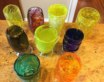 Large hand blown drinking glasses