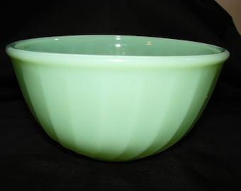 "Vintage Fire King Jadite 6"" Mixing Bowl Swirl, Anchor Hocking Fireking Jadeite Swirl Nesting Bowl"