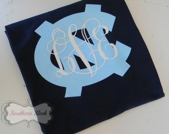 North Carolina Tarheels Monogrammed T-Shirt with Glitter (Adult & Youth)