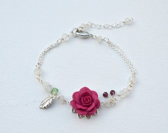Magenta Rose Vine Bracelet. LIMITED EDITION.