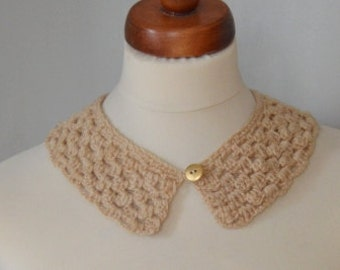 Peter Pan Collar,Crochet Collar, Beige color, Detachable Collar Necklace, Beige crochet Collar,gift for her.
