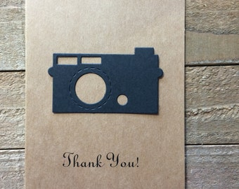 Camera Card, Stationery Set, Greeting Card, Thank You Card Set, Kraft Colored Cards, Photographer Card, Photography, Blank Note Card Set