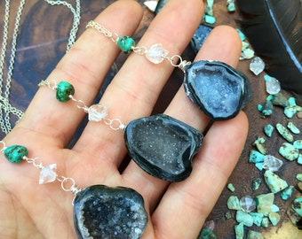 Everyday Good Vibes necklace - Natural Agate geode + turquoise and Herkimer diamond - sterling silver
