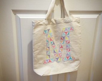 Canvas Tote Bag Personalized with Fabric Initial // Kids Tote // Library Book Bag // Market Bag //