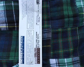 Robert Kaufman Christmas Green and Navy Plaid Flannel
