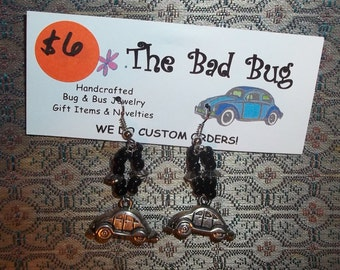 VW Bug earrings, black and silver beads-great gift for the modern hippie