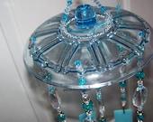 Crackled Blue Teardrops Sun Catcher / Wind Chime