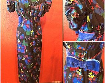1940s Crepe Dress Floral Puff Sleeves Tea Dress Medium
