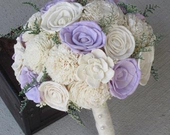 Wedding, Ivory and light lavender Sola wood Bouquet, Wood Bouquet, Bridal Bouquet, Sola flowers, Bouquet, Handmade