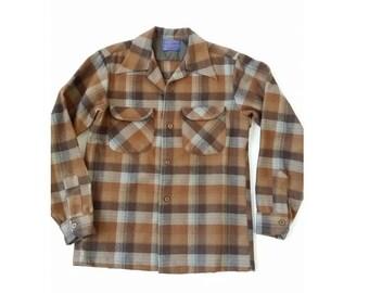 PENDLETON Loop Collar Wool Shirt  • Men's Brown Gray Plaid Lumberjack Jacket Over Shirt  • Made in USA
