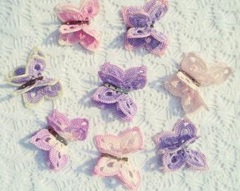Crochet butterflies applique,wedding decorations,butterfly brooch,crocheted butterflies embellish,craft supplies,hair ornaments,scrapbooking