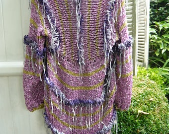 Romantic handknit victorian purple coat jacket kimono subtile lilac color gypsy hippie ruffle violet ribbons golden thread 3D boho OOAK