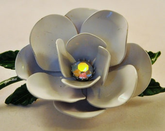 Vintage Enamel AB White Rose Flower Brooch - Enchanting