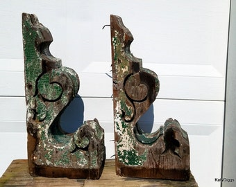 Pair of Large chippy green corbels,Victorian corbels,Rustic, Primitive salvage