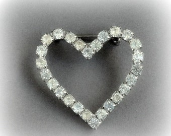 ON SALE Vintage Clear Rhinestone Heart Pin Brooch