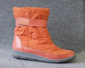 Italian vintage orange faux fur lined warm winter snow ankle boots size 37 7