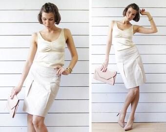 MAX&Co by Max Mara vintage beige cotton viscose high waist pencil knee length skirt XS S