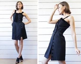 KARL LAGERFELD Vintage black wool wide velvet shoulder strap bow button up fitted elegant evening mini dress lbd XS
