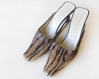 SONIA RYKIEL Paris tiger print pony hair leather geometric high heel backless mules shoes Size 8