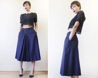 Vintage navy ink blue wool wide leg palazzo short capris culottes skirt short pants S