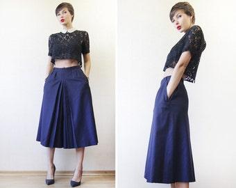 Vintage navy ink blue wool wide leg palazzo short capris culottes skirt short pants S