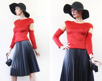 Vintage red soft fuzzy knit cut out sleeve cuffs sweater top S