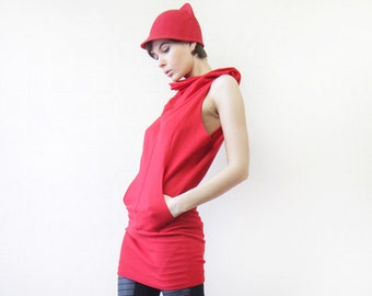 Vintage red wool high cowl collar sleeveless tunic vest top L