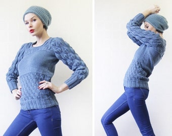 Vintage hand knit sky blue textured panel sweater top XS-S
