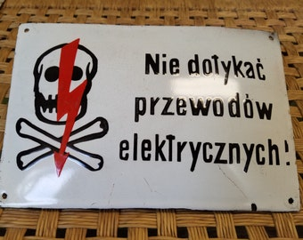 Heavy German Danger Electrical Skull & Crossbone Porcelain Sign Plaque ready to hang