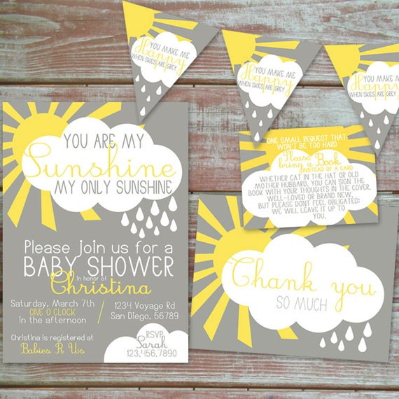 you are my sunshine baby shower invitation set by hennigdesigns