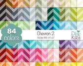 70% Sale Chevron Digital Papers 2 - Rainbow chevron Scrapbook Papers - Basic Color Papers - Huge Paper Pack - Instant Download