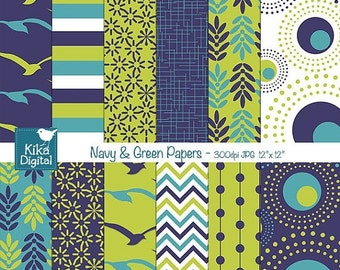 70% SALE Navy and Green Digital Papers - Scrapbooking, card design, invitations, stickers, background, paper crafts, web design - INSTANT DO