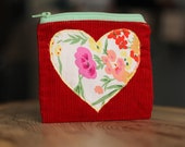 Red Valentine Wallet - Heart, Love, Floral Heart, Change Purse, Mother's Day Gift