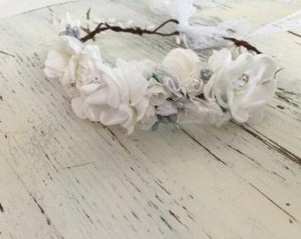 White Flower crown- Flower crown- Dollcake Flower Crown- Flower Girl Crown- Well Dressed Wolf- Cinderella Birthday