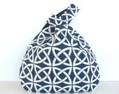 Knitting Tote Bag Large Knitting Bag, Crochet Project Bag Navy Celtic Knot Diaper Bag