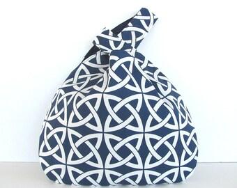 Knitting Tote Bag Large Knitting Bag, Crochet Project Bag Navy Celtic Knot Diaper Bag