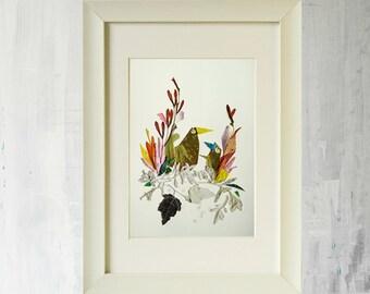 Bird prints Dried flowers Print of original pressed flower art Bird art prints Bird decor Art work Framed art prints Flower art Botanical