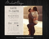 Save The Date Magnet, Card or Postcard - Burlap Calendar