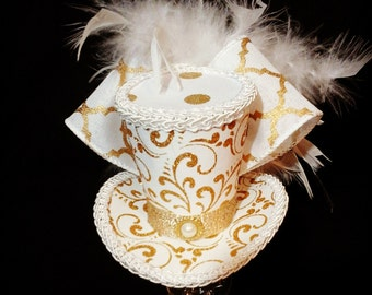 Gold glitter and white mini top hat fascinater feathers galore costume Alice in wonderland