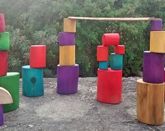 Rainbow Tree blocks, open ended toys / Waldorf inspired wooden blocks / Reclaimed Tree Blocks / Waldorf Wooden Toys