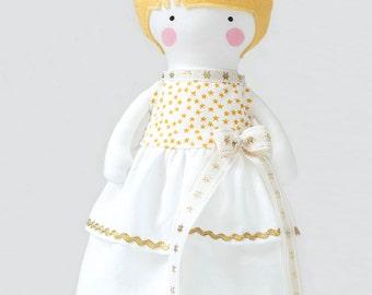 Princess Doll Dress White with Gold Stars Sleeveless Ruffled Holiday Doll Party Dress 30cm doll wardrobe  - Fit My 12 inch Fashion Dolls