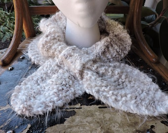 CLEARANCE SALE ~ 20% off ~ Keyhole Scarf, Cream, Brown, Slip thru Scarf, Knitted Neckwarmer, Scarflet